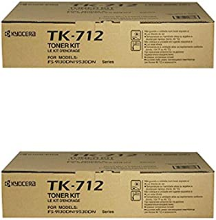 Kyocera TK-712 FS-9130 FS-9530 Toner Cartridge (Black, 2-Pack) in Retail Packaging