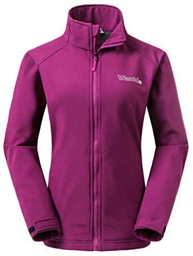 Wantdo Women's Soft Shell Outdoor Sports Jacket Stand Collar Coat(Purple, US L)