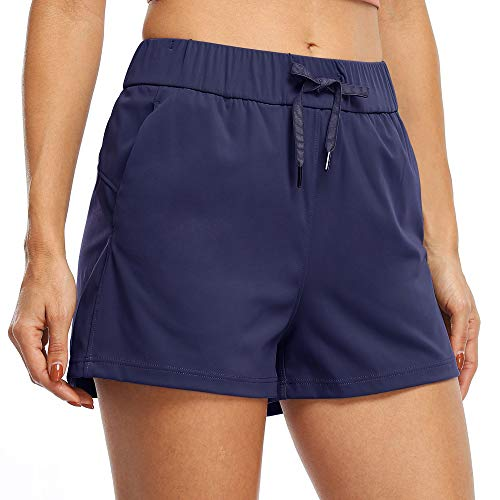 """Willit Women's Yoga Lounge Shorts Hiking Active Running Workout Shorts Comfy Travel Casual Shorts with Pockets 2.5"""" Blue S"""