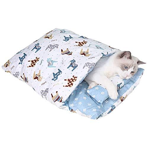 wenyujh Katzenschlafsack Katzenbett Waschbare Abnehmbare Schlafsack warm Katzenstreu Katzenmatte Haustierbett Für Katzen Hunde (B-Blau, L)