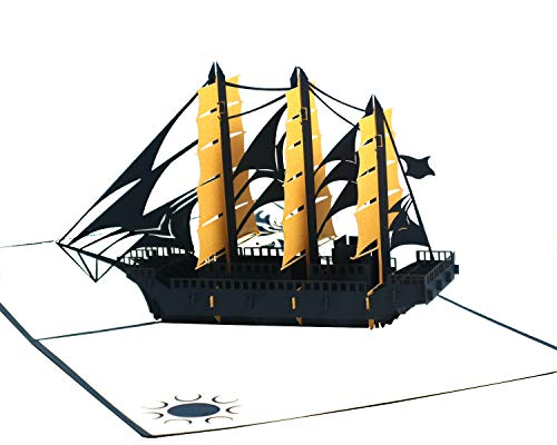 Hipop PIRATE SHIP 3D Pop Up Card, Greeting Card. Happy Birthday Card,...