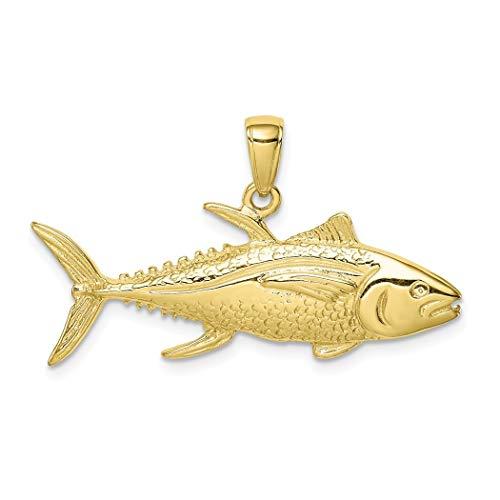 Collar con colgante de atún amarillo de 10 quilates con diseño de pe