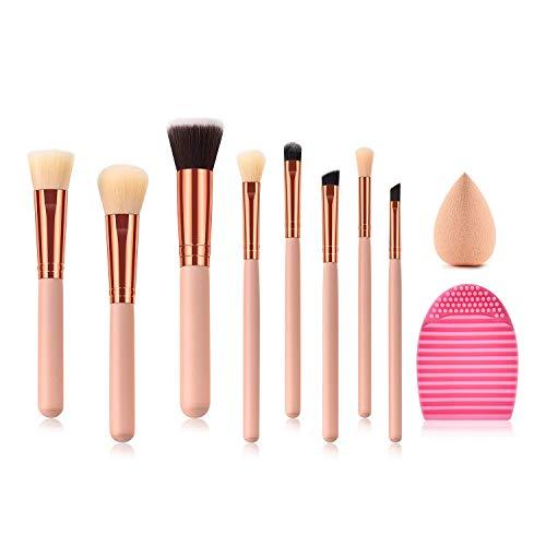 JFFFFWI Beauty Tools Brush, 8 Piece Pink Gold Professional Combined Makeup Brush Set Kabuki Foundation Eyeliner Comestic Brushes