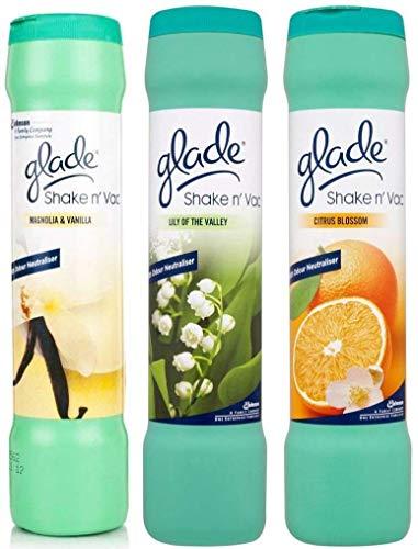 Glade Shake 'n' Vac Teppichreinigungspuder, Lily / Magnolia / Citrus, 500 g, 3 Stück mehrfarbig