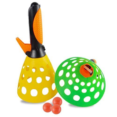 WLPTION Juego de bolas de lanzamiento y cesta de lanzador con 2 receptores y 2 bolas de plástico para interiores y exteriores