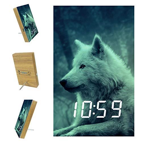 Digitaler Wecker Waldtier Wolf Tisch Intelligente Sprachsteuerungsfunktion USB Ladeanschluss für Nachttisch...