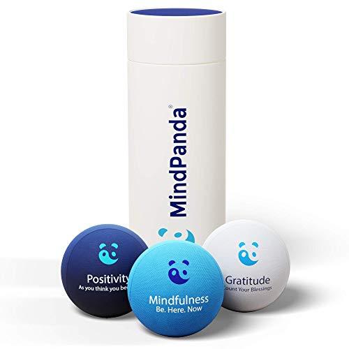 3x Bola para el estrés Mental & Corporal - ¡AROMATERAPIA & FRASES POSITIVAS! Gratis Mindfulness E-Book & ejercicios manuales fisioterapia incluidos. Juguetes antiestrés perfectos para adultos y niños.