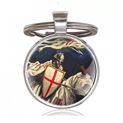 TOBENOI Pendentif en Bronze Antique Chevalier templier Croix Porte-clés Charme Hommes Femmes Porte-clés