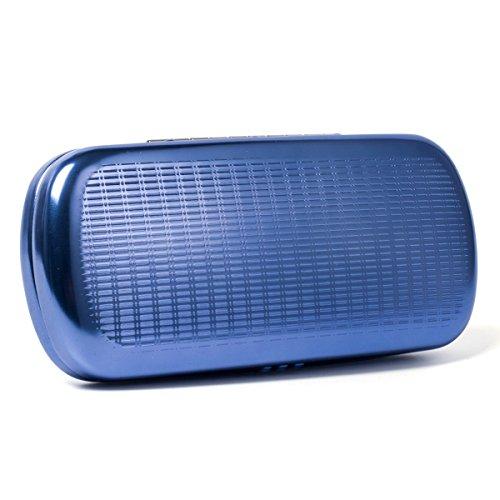 EZESO Brillenetui hart aus Aluminium mit Streifen gefüttert für Sonnenbrillen Gr. Einheitsgröße, blau