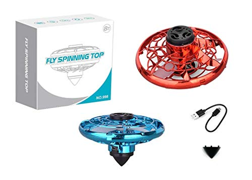 Teklectric Flying Fidget Spinner with LED Lights, Fly Nova Floating Hand Operated Mini Drone Spinner Toy with 360 Degree Top Spinner Attachment for Ground Play (RED)
