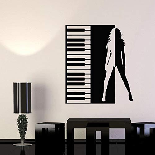 Fancjj Piano Key Vinyl Wall Decal Beautiful Girl Silhouette