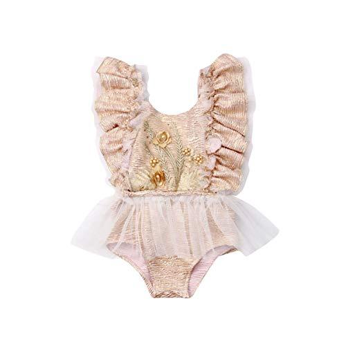 Loalirando Neugeborenes Baby Mädchen Spitzen Strampler Langarm Body Einteiler Sommer Prinzessin Body (12-18 Monate, gelb)