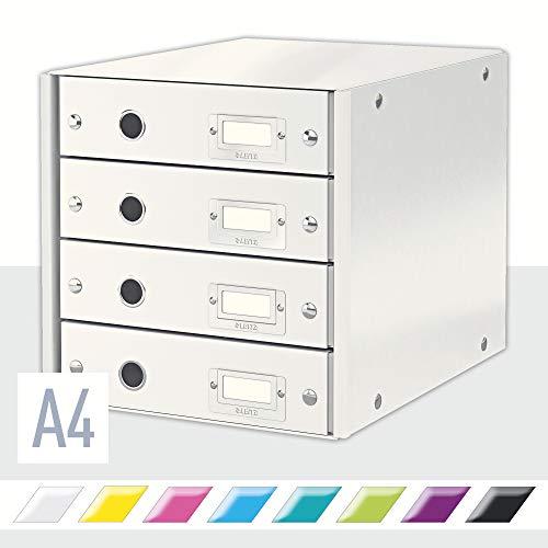 Leitz Bloc de Classement, 4 Tiroirs, A4, Click & Store, 60490001 - Blanc