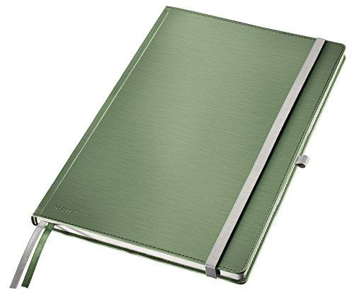 Leitz A4 Notizbuch, 80 Blatt, Hardcover, Karierte Seiten, Inkl. 2 Lesezeichen, Style, Seladon Grün, 44760053