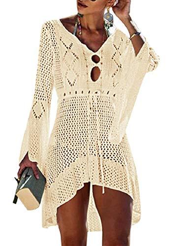 Voqeen Mujer Pareos Playa Traje de Baño Verano Vestido de Playa Sexy Bikini Cover up Camisola de Playa Camisolas y Pareos Ganchillo Túnica de Punto Estilo Sobredimensionado (Beige)