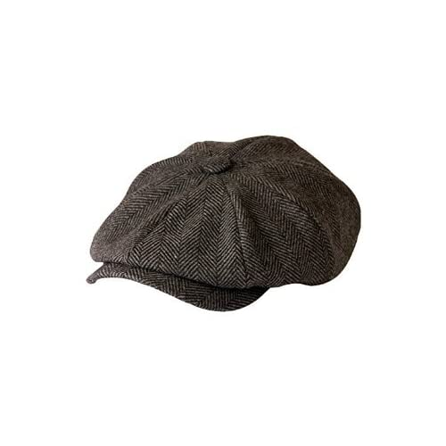 6279c580 'Shelby' Newsboy Grey Herringbone Cloth Cap By Gamble & Gunn. '