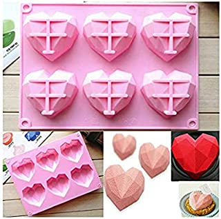 S.Han Silicone Heart Diamond Shape Mould 6 Cavity 3D Mould Baking Cake Decoration Tool