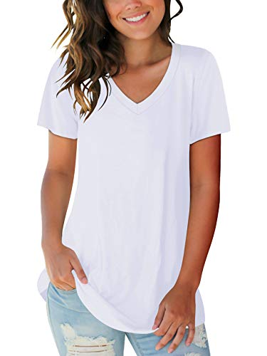 Juniors Loose Fitting Tops Womens Tunic Round Neck Plus Size T Shirts White XXL