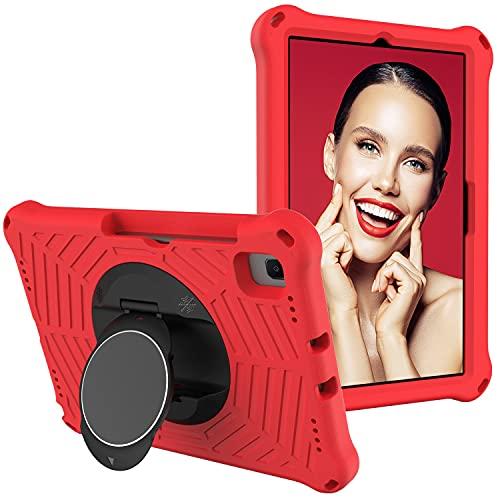 SZCINSEN Funda para tablet Samsung Galaxy Tab S6 10.5 2019 SM-T860/T865 para niños, a prueba de golpes, con soporte giratorio ligero y duradero, correa para el hombro (color rojo)