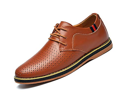 MOHEM Mens Dress Shoes Darren Men's Casual Premium Genuine Leather Lace-up Oxford Shoes(1687008Brown44)