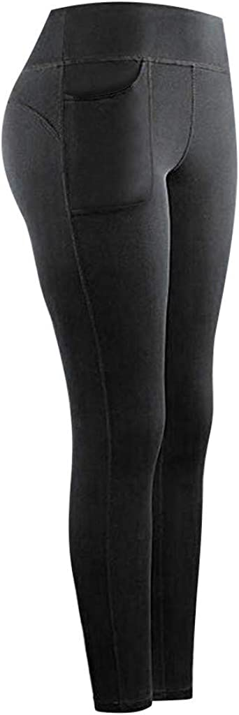 Hotkey Yoga Pants for Women, Stretch High Waist Leggings Butt Lift Solid Pockets Yoga Pants Workout Sports Tights