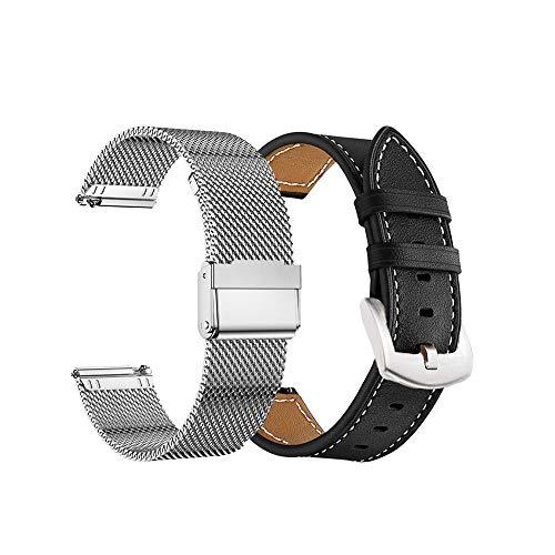 Yeejok 18mm Watch Bands Compatible for Fossil Women's Gen 5E 42mm /Gen 4 Q Venture HR/Garmin Vivoactive 4S, Quick Released Genuine Leather Strap & Metal Mesh Milanese Band, Silver+Black