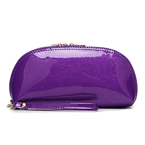 Santwo, pochette da donna con diverse funzioni, da utilizzare come mini borsetta per i cosmetici, portamonete o portafoglio, in pelle sintetica, colori confetto luminosi Nero Purple 7.61*3.9*1.76 inches