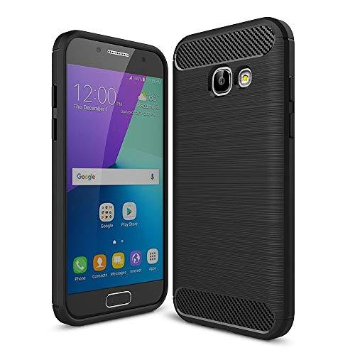 König Design Handy-Hülle kompatibel mit Samsung Galaxy A3 (2017) Silikon Hülle Hülle Sturzsichere Back-Cover Handyhülle - Carbon - Schwarz