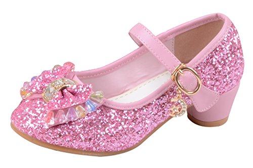 La Vogue Zapatos Zapatilla con Lentejuela Para Niña Princesa Fiesta Rosa 26/Longitud Interior 17.5CM