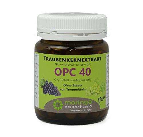 OPC 40 Kapseln (60 Stück) ohne Zusatzstoffe wie z.B. Tennmittel. Nur reinstes Traubenkernextrakt mit mindestens 40% OPC - von Moringa Deutschland
