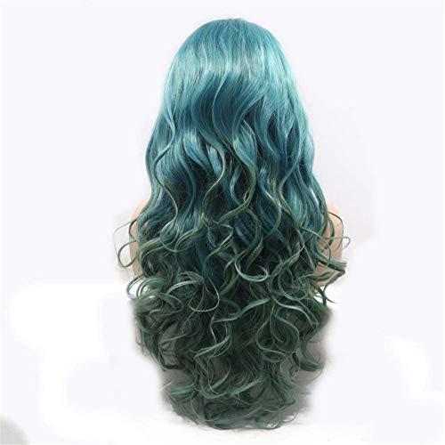 Hermosa peluca larga ondulada Pelucas Gray-Green Ion Hot en el cabello largo de pelo largo Peluca de pelo rizada Señoras Hecho a mano Encaje Europa y América Peluca Set Peluca Set Pelo corto Pelucas d
