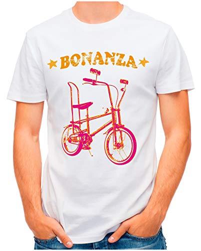 OM3® - Bonanza-I - T-Shirt | Herren | Vintage Kult Fahrrad 50 Jahre Jubiläum Bicycle | Weiß, XL