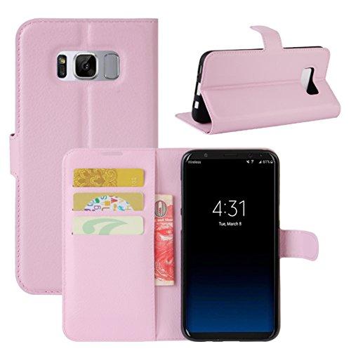 HualuBro Samsung Galaxy S8 Hülle, Premium PU Leder Leather Wallet HandyHülle Tasche Schutzhülle Flip Hülle Cover für Samsung Galaxy S8 Smartphone (Pink)