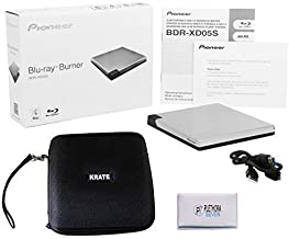 Pioneer BDR-XD05S Blu-Ray Player Burner - 6X Slim Portable External BDXL, BD, DVD & CD Drive for Windows & Mac with 3.0 USB - Write & Read on Laptop or Desktop, Includes Carry case (Silver)