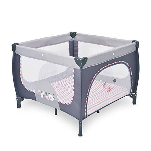 XHJYWL Corralito Extra Alto 76cm Cuadrado Bebé, Cuna de Viaje Plegable Patio de Juegos para bebés/niños pequeños, fácil de Limpiar (Rosa/Amarillo) (Color: Rosa)
