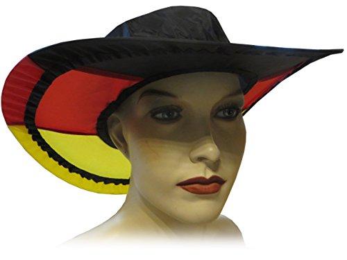 Kaltner Präsente Geschenkidee - 10 stuks zonnehoed hoed muts pet van nylon opvouwbaar in de kleur van de land zwart rood goud Deustchland ideaal voor carnaval outdoor zonwering regenbescherming