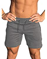 Ouber Men's Gym Workout Shorts Weightlifting Squatting Short Fitted Jogging Pants with Zipper Pocket (M, Deep Grey)