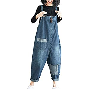 Women's Loose Baggy Cotton Printed Bib Overalls Jumpsuit Rompers