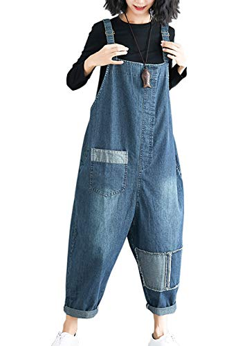 Women's Loose Baggy Cotton Printed Bib Overalls Jumpsuit Rompers 3