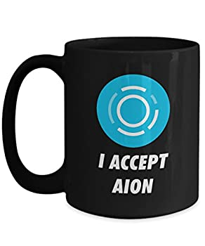 Official I Accept Aion Cryptocurrency Big Mug Acrylic Coffee Holder Black 15oz Crypto Miner Blockchain Invest Trade Buy Sell Hold AION