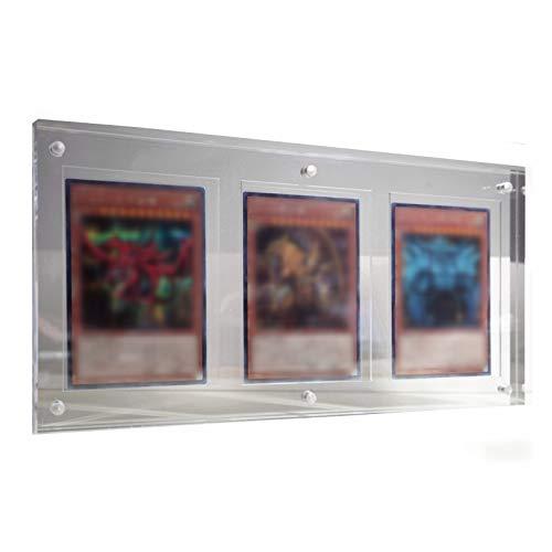 TCG Triple Karten Rahmen Magnetisch Display Halter Acryl Durchsichtig Boxen Kartenhüllen Standard Schutzhüllen, 35PT