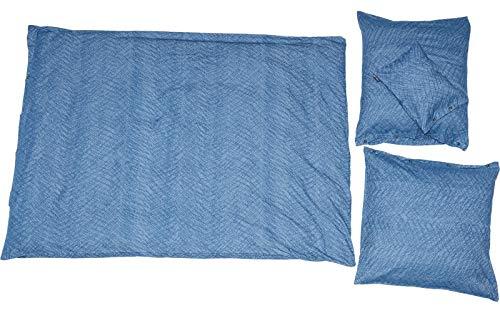 David Fussenegger - Bettwäsche David - Struktur, Jeans-blau - 140 x 200 cm / 80 x 80 cm