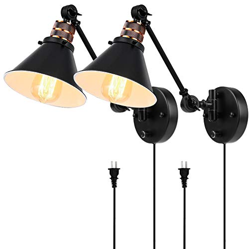 Plug in Wall Sconces Set of 2, PARTPHONER Swing Arm Wall Lamp with Dimmable On Off Switch, Metal Black Vintage Industrial Wall Mounted Lighting Reading Light Fixture for Bedside Bedroom Indoor Doorway