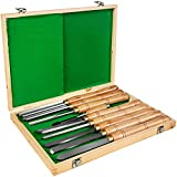 OldFe - Scalpello per tornio in legno, 8 pezzi, lame in acciaio HSS per tornitura in legno, scalpello