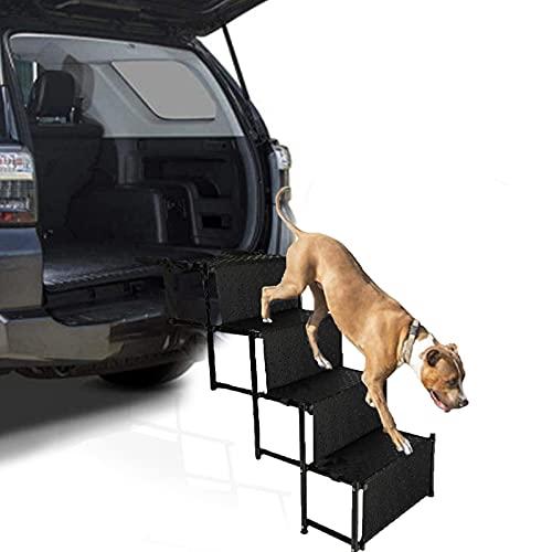 JYOKK Rampa Plegable para Mascotas compacta y Ligera Escaleras para Perros Coche ara Perros Grandes Y Pequeños para Proteger Las Articulaciones Y Rodillas del Perro 4 Escalones Negro
