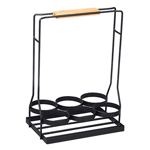 Moderna Simple de Hierro Forjado portátil Rack Cerveza Cesta Vino (Negro), Monsteramy (Color : Black)