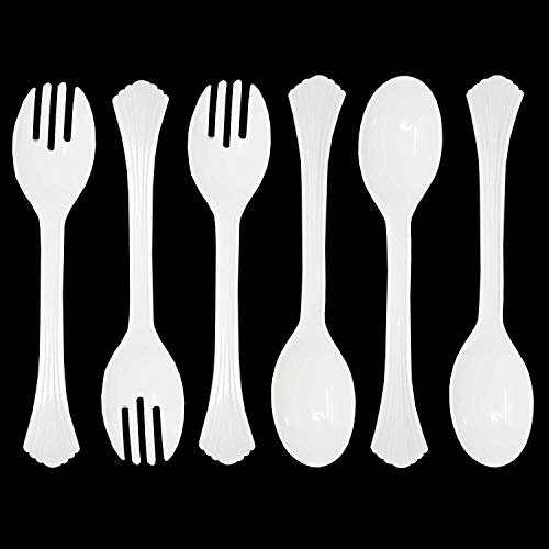 """Set Of 6 Heavy Duty Disposable Plastic Serving Utensils 