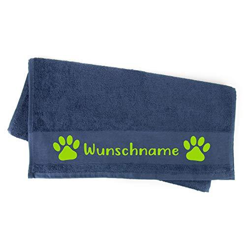Tierisch-tolle Geschenke Handtuch Hundepfote Pfotenabdruck Pfote Pfötchen mit Namen oder Text personalisiert 100 cm x 50 cm (Navy)