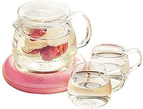 Tetera de vidrio Tetera de té de alta temperatura resistente al calor Juego de té de cocina para el hogar, filtro eléctrico de temperatura constante, resistente al calor (color: rosa) (color: plata)