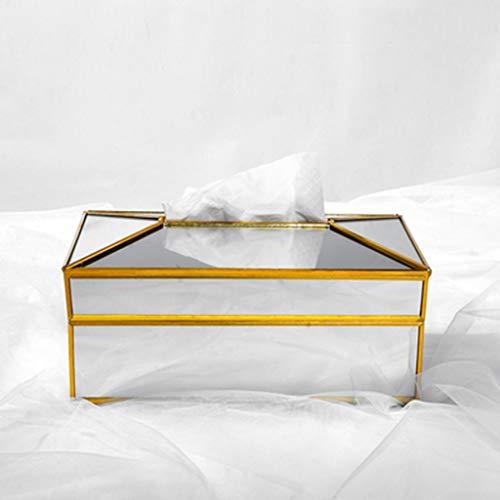 caja de pañuelos Espejo rectangular de cristal de papel caja de pañuelos, servilletas decorativo de cristal caja de almacenamiento, sostenedor del tejido facial de Dresser, baño, dormitorio, decoració